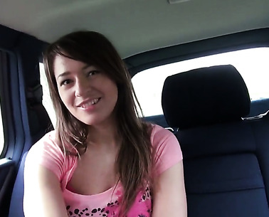 Amateur Anastasia In Pink Panties Shows Her Twat In A Car