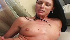 A Dark-haired Jizz Guzzler Enjoy Some Mouth Cumshot In The Living Room