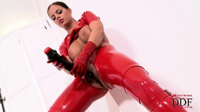 Latex Bitch And Her Dildo